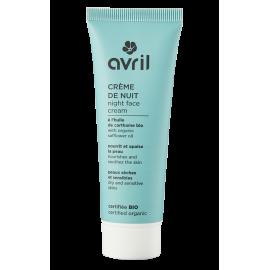 Crème de nuit peaux sèches et sensibles - 50 ml  Certifié bio
